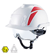 Config V-Gard® 930 NV Blanc / Porte-badge, stickers rouge, jugulaire